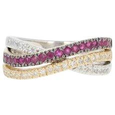 Ruby & Diamond Crossover Ring - 14k White Gold Round Brilliant .47ctw