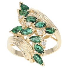 Emerald & Diamond Bypass Ring - 14k Yellow Gold Marquise Brilliant 1.08ctw