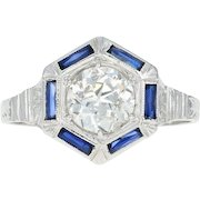 Art Deco Diamond & Synthetic Sapphire Halo Ring -18k Gold Vintage European .99ct