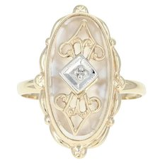 Vintage Camphor Glass Ring - 10k Yellow Gold Diamond Accent Size 4 1/2