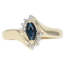 Sapphire & Diamond Bypass Ring - 10k Yellow Gold 0.32ctw Marquise