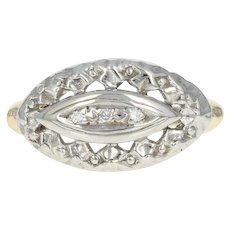 Vintage Diamond-Accented Ring - 10k Yellow Gold Women's Size 6