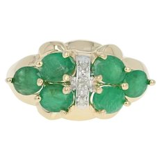 Emerald Ring - 14k Yellow Gold Diamond Accents Oval Brilliant 1.75ctw