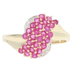 Ruby & Diamond Cluster Bypass Ring - 10k Yellow Gold Round Brilliant 1.27ctw