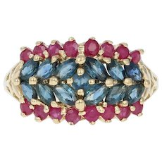 Sapphire & Ruby Cluster Ring - 14k Yellow Gold Marquise Brilliant 2.15ctw