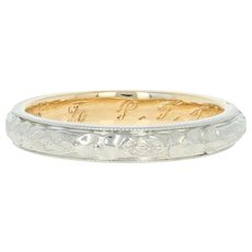 Art Deco Traub Orange Blossom Wedding Band - 14k & 18k Gold Vintage Ring 4 3/4
