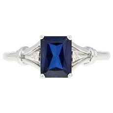 Synthetic Sapphire & Diamond Ring - 14k White Gold 1.62ctw