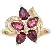 Rhodolite Garnet & Diamond Flower Ring - 10k Yellow Gold Pear Brilliant 1.91ctw