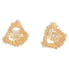 Diamond Heart Earrings - 14k Yellow Gold Pierced Women's