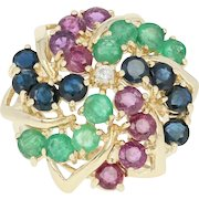 Ruby, Sapphire, Emerald, & Diamond Ring - 14k Gold Floral Cluster 3.91ctw