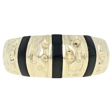 Onyx Dome Ring - 14k Yellow Gold Textured Women's Size 7 1/2