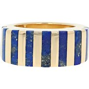 Lapis Lazuli Stripe Ring - 18k Yellow Gold Women's Size 4 3/4 - 5