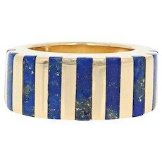 Lapis Lazuli Stripe Ring - 18k Yellow Gold Women's Size 4 3/4 - 5