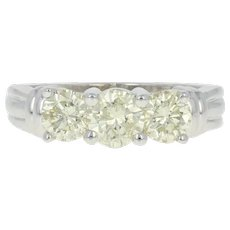 Light Yellow Diamond Engagement Ring - 14k Gold Three-Stone Round Cut 1.50ctw
