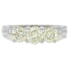Light Yellow Diamond Engagement Ring - 14k Gold Three-Stone Round Cut 1.50ctw