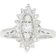 Vintage Diamond Cluster Halo Ring - 14k White Gold Round Brilliant .40ctw