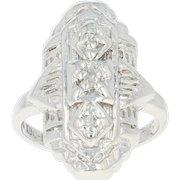 Diamond-Accented Filigree Ring - 10k White Gold Milgrain Single Cut Size 2 3/4