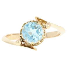 Vintage Aquamarine Bypass Ring - 18k Yellow Gold Round Brilliant 1.00ct
