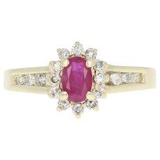 Ruby & Diamond Halo Ring - 10k Yellow Gold Oval Brilliant .70ctw