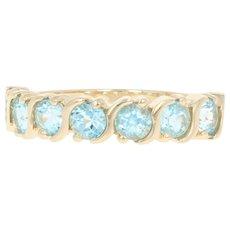 Blue Topaz Ring - 14k Yellow Gold Size 6 1/4 Round Brilliant 2.50ctw