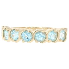 Blue Topaz Ring - 14k Yellow Gold Size 6 1/4 Round Brilliant 2.50ctw