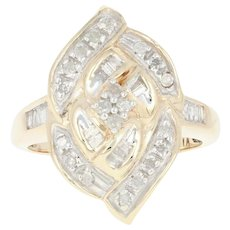 Diamond Ring - 10k Yellow Gold Size 7 1/4 Single & Baguette Cut .50ctw