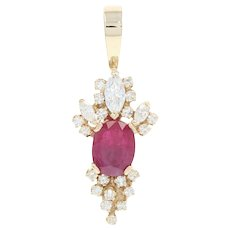 Ruby & Diamond Pendant - 14k Yellow Gold Oval & Marquise Brilliant 3.46ctw