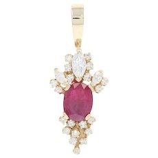 Ruby & Diamond Pendant - 14k Yellow Gold Oval & Marquise Brilliant 3.46ctw