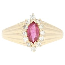 Ruby & Diamond Halo Ring - 14k Yellow Gold Marquise Brilliant .70ctw