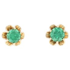 Vintage Simulated Emerald Stud Earrings - 14k Gold Buttercup Mount Pierced