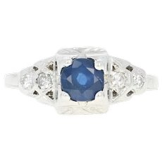 Art Deco Sapphire & Diamond Ring - 18k White Gold Engagement Vintage .71ctw