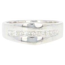 Diamond Wedding Band -14k White Gold Princess Cut .50ctw