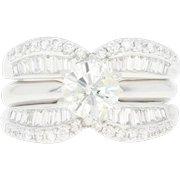 Diamond Engagement Ring & Wedding Band - 14k White Gold Round Cut 1.64ctw