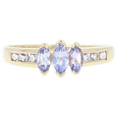 Tanzanite Ring - 10k Yellow Gold Three-Stone w/ Accents Marquise .80ctw