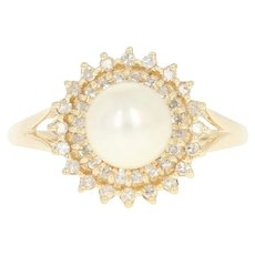 Cultured Pearl & Diamond Halo Ring - 14k Yellow Gold 7.1mm Single Cut .20ctw