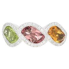 Periot, Tourmaline, Citrine, & Diamond Ring -14k Gold Halo Leaf Brilliant .19ctw