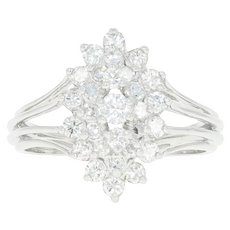 Diamond Tiered Cluster Ring - 14k White Gold Round Brilliant 1.25ctw
