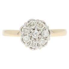 Floral Diamond Cluster Ring - 14k Yellow Gold Round Brilliant .46ctw