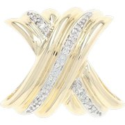 Diamond-Accented X Slide Pendant - 14k Yellow Gold Omega Ribbed Texture