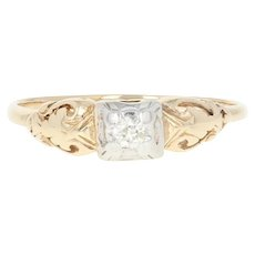 Art Deco Diamond Engagement Ring - 14k Yellow Gold Old European Vintage