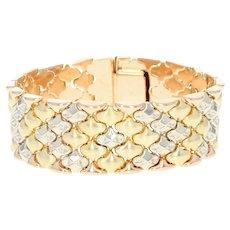 "Vintage Italian Link Bracelet 6 3/4"" - 18k Gold Tri-Tone Textured"