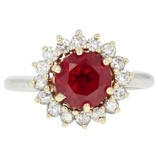 Synthetic Ruby & Diamond Halo Ring - 14k White Gold Round Brilliant 1.80ctw