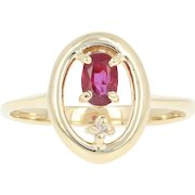 Ruby & Diamond Ring - 14k Yellow Gold Oval Brilliant .36ctw