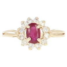 Ruby & Diamond Halo Ring - 14k Yellow Gold Oval Brilliant .80ctw
