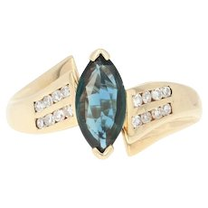 Sapphire & Diamond Bypass Ring - 10k Yellow Gold Marquise Brilliant 1.15ctw