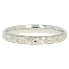 Art Deco Ostby & Barton Wedding Band - 18k Gold Vintage Floral Milgrain Ring