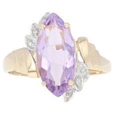 Amethyst & Diamond Bypass Ring - 14k Yellow Gold Marquise Brilliant 2.52ctw