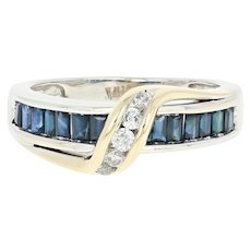 Sapphire & Diamond Crossover Ring - 14k White Gold Round Brilliant 1.05ctw