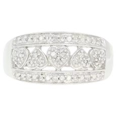Diamond Hearts Ring - 10k White Gold Millgrain Size 7