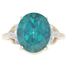 Topaz Solitaire Cocktail Ring - 10k Yellow Gold Oval Brilliant 6.00ct